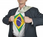 Businessman Showing Brazil Flag Superhero Suit Underneath His Shirt