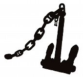 Silhouette Anchor With Chain
