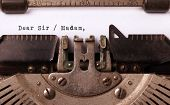 picture of politeness  - Vintage inscription made by old typewriter dear sir madam - JPG