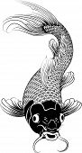 image of koi fish  - Beautiful black and white vector illustration of a Japanese or Chinese inspired koi carp fish - JPG