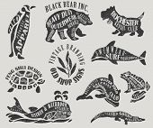picture of water animal  - Vintage Marketing Labels and Shop Signs  - JPG