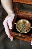 Wood box compass