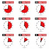 Five to Forty Five Minutes Stop Watch - Clock Vector Illustration Set
