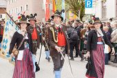 Miesbach / Germany / Bavaria - 05.May: Captain of a company of mountain troops during the salute wit