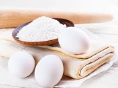Eggs and flour for dough