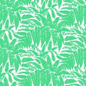 Vector pattern with leaves of tropical plants