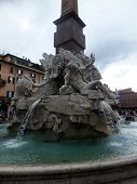 ROME, ITALY - April 28, 2014: Detail Of The Fountain Of The Four Rivers In Piazza Navona, Rome