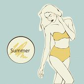 beautiful girl with long hair in yellow swimsuit on a blue background, vector.