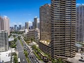 stock photo of waikiki  - Condo towers overlooking Ala Moana Boulevard in Waikiki facing in a northerly direction - JPG