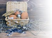 White Chicken And Quail Eggs In A Basket