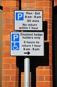 Parking restrictions sign, UK.