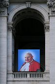 Portrait Of Pope John Paul Ii On Basilica