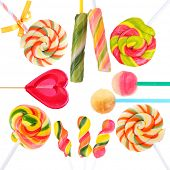 Colorful lollipops isolated on white