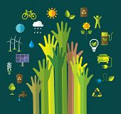 Environment and ecology banner with flat icons. Green energy. Recycling.