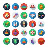 Set of flat design cute baby icons