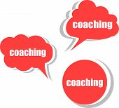Coaching Word On Modern Banner Design Template. Set Of Stickers, Labels, Tags, Clouds