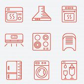 Household appliances icons, thin line style, flat design