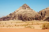 Pyramid Mountain In Wadi Rum, Jordan
