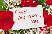 Roses bouquet and Valentines day card - celebration background