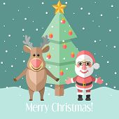 Christmas Card With Fir Tree And Santa Claus And Reindeer