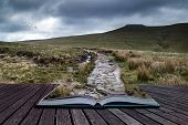 Beautiful Landscape Of Brecon Beacons National Park With Moody Sky Conceptual Book Image