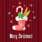 Christmas Card With Traditional Sock Or Stocking