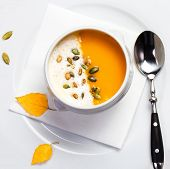 Yellow Pumpkin Soup Made For Thanksgiving. Studio Shot For Restaurants.