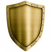 Gold or bronze metal medieval shield isolated