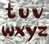Vector image of chocolate alphabet small letters on the aluminum foil