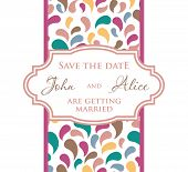 Wedding invitation card design with multicolored drops and floral elements.