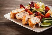 Roast chicken fillet and vegetables