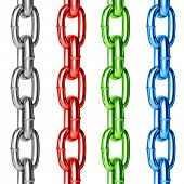 Chain set colorful seamless isolated on white.