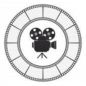 camera icon round film strip frame