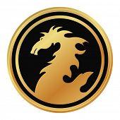 golden emblem with dragon - design element