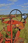 Old tractor lights and steering wheel