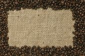 Cafe edition coffee bean frrame on Jute background