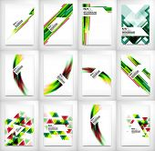 Flyers, Brochure Design Templates set, Geometric Shape Unusual Abstract Background Collection