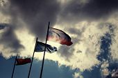 Russian flag on the wind against damatic clouds and flag of the