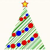 Christmas tree with red and blue ornaments