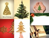 Christmas backgroud collage with gold decoration, gift and green Xmas tree