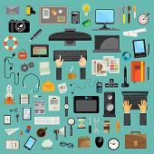 Computer technology, icon set flat design