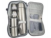 stock photo of thermos  - Thermos flask and aluminum cups on a white background  - JPG
