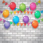 Balloon And Party Flags On Brickwall Background