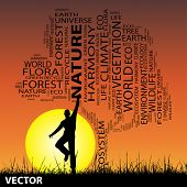 Vector concept or conceptual black ecology text word cloud as tree and grass, a man jumping on sunset with sun background