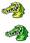 stock photo of crocodile  - Wild angry crocodile in cartoon design - JPG