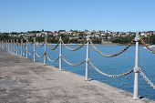 Chain Link Fence Along Harbour