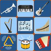 pic of pipe organ  - Set of Music Instruments Vector icons in flat style eps10 - JPG