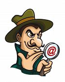 foto of private detective  - Detective with magnifying glass for web search concept - JPG