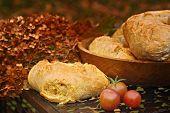 Homemade artisan sourdough bread in autumn setting