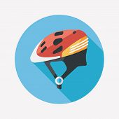 Bike Helmet Flat Icon With Long Shadow,eps10